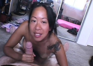 Mature Oriental woman receives down and brim about to work exposed to a POV video