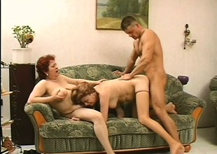 2 naughty adult squirearchy seduce a young stud and he takes play host to their sexual needs