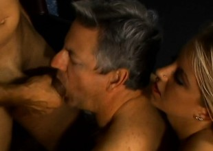 Two older ambisextrous dudes net on with a gorgeous blond coddle