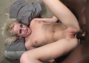 Nasty light-complexioned Want Moore has a group of jet-black studs roughly banging her holes