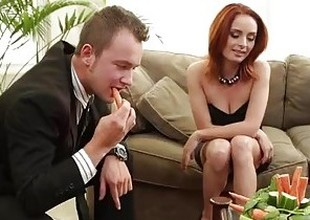 Morose redhead Ashlee Graham making out on the couch