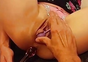 Kinky Petite Babe Gets The brush 2 Holes Filled & Loves It! 1st time eon cum in ass!!