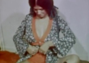 70s natural boobs person and her man