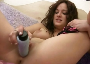 Teen babe in sexy skivvies masturbates with her dildo within reach home