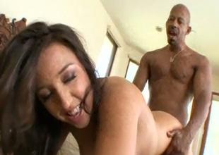 Curvy brunette teem Andrea Wild enjoying her pussy screwed approximately huge dick