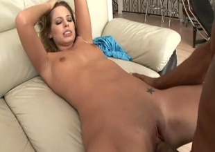 Glowering haired cutie Joclyn Stone gets team-fucked by Shane's black dick