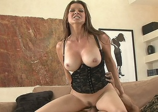 Hawt milf Raquel Devine rubbing away slippery slot on massive vagina basher