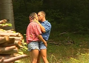 Ray Phillips and Roberto Giorgio go out for a romantic walk, and they barely receive out the front door before sinking into kisses together.  They manage to receive to the tree line before this 22 moment outdoor scene becomes outright porn.  Watch up very close f