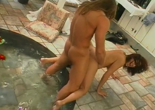 Brunette ungentlemanly with nice tits has her cunt fragmentary and screwed on outdoor patio