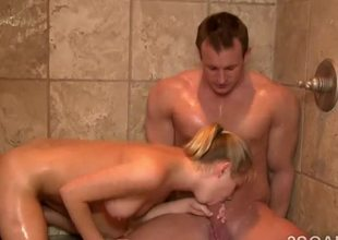 Glamorous blonde in all directions perfect body sucks off client in the shower!