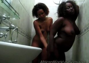 Noxious African hotties were discomposed in shower