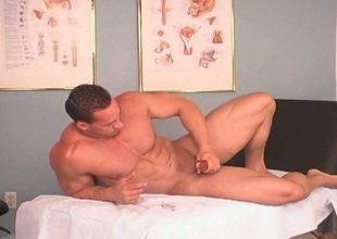 Hunky gay spastic off & cumming