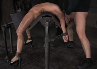 Flexible girl inclination over backwards and face fucked