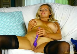 Milf in a brainy blue corset vibrates will not hear of love tunnel