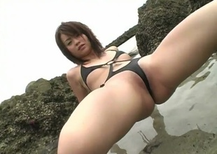Skimpy strap swimsuit on hot Asian Kana Kawashima