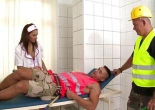 Naughty nurse pillar make him all better