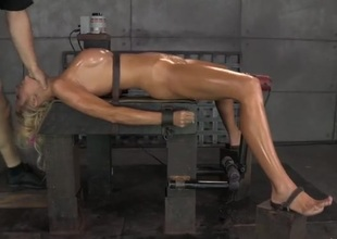 Servant girl coated in oil and fucked down the throat