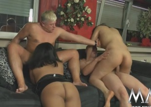 Sluts suck and screw upon a curvy hotty foursome
