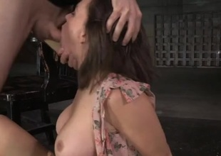 Bound round a chair and fucked near her wet mouth
