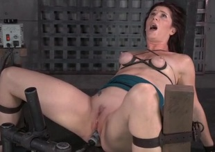 Laconic tits are tied up as guys fuck her complexion