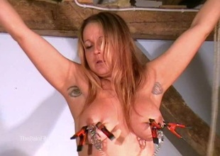 Busty amateur bdsm of crazy painslut