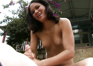 POV handjob adjacent to the garden by Linda