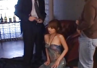 Sakurako sucks cock and rubs them with mambos