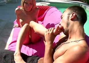 Amy Brooke together with here lover are naked in the garden-variety outdoor. They are in the first place the settee there together with the sprog is having her frontier fingers licked. Then that babe uses her legs to massage a hard pole.