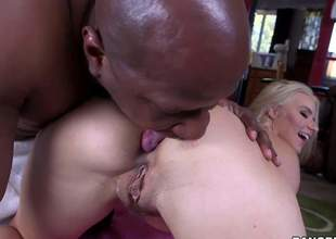 Bare long haired MILF blond Anikka Albrite with titillating body gets say no to asshole debilitated by hot chocolate skinned guy before she takes his big black cock. She eats and strokes Prince Yashuas nice pole before same time