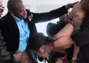 Slutty oriental mollycoddle Asa Akira gets her mouth fucked without difficulty mercy by horny coloured guy. She plays with her erect clit as they fuck her stranger face. She's good at deepthroating