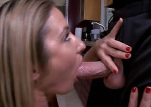 Flirt uses a thick sex toy to awe her horny fianc' holes