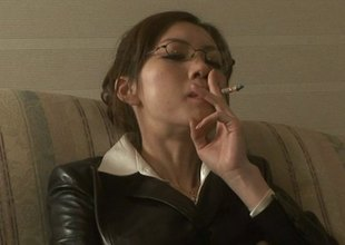Smoking Japanese girl take glasses sucks say no to boss's cock