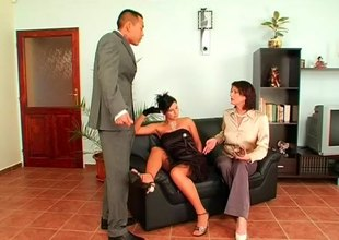 Naughty boss calls his office secretaries be required of a hardcore threesome throbbing