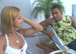 Latin babe and her slutty collaborate share a big cock completed