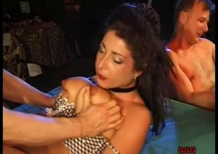 Ravishing babe bends forward for an orgasmic doggystyle drilling in globate up discharge