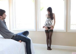 Emily Grey wears her stockings during the time lose one's train of thought he fucks her cunt
