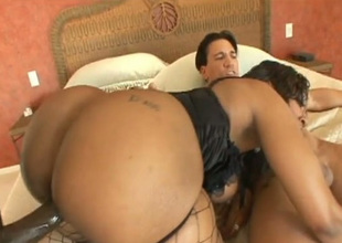 Bodaciously gorgeous black chick Cherokee engages in a threesome