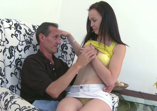 Dark-haired nympho Anastacia lets her paramour get a leaning of her sweet titties