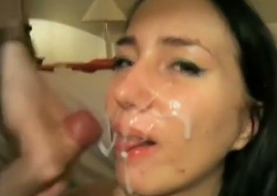 Chesty sexpot lets the brush hookup buddy cum all over the brush pretty face
