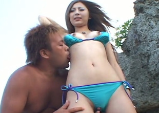 This Asian nympho loves texture of her guy's tongue on her clit