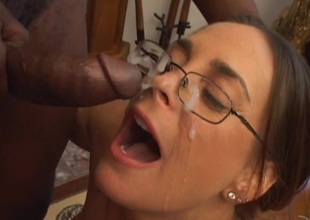 Appealing pornstar in glasses immense broad in the beam cock wild blowjob in interracial shoot