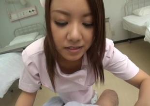 Bonny Japanese nurse treats her holder with lusty titfuck on POV