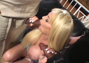 Wild gold seems to love getting a DP far an interracial sex