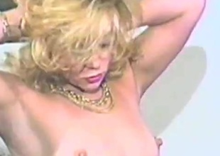 Eager gilt milf sucks a load of shit then rides it hardcore in an epic retro episode