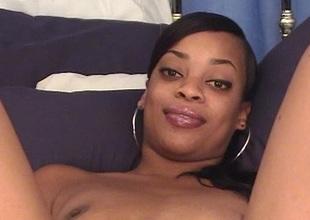 Ebony babe in solo masturbation toy fucking her black twat