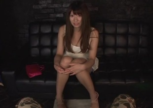 Long haired Asian cutie enjoys toying her pussy plus using sex toy