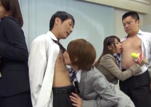 Japanese models there nylons receives steamy group sex after interview