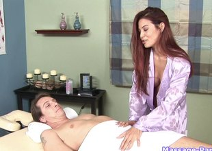 Redheaded massage tot gives his cocktail lounge a great blowjob