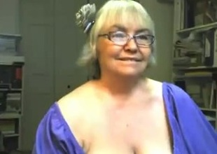 Playful and cheerlful granny shows off will not hear of big boobs