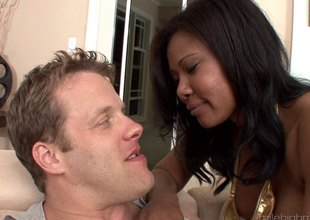 Fruitful tit nefarious honey acquires a rough fucking from a white guy